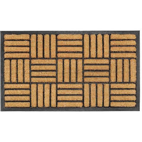Handmade Natural Brushed Coir Parquet Doormat (India) - 2' x 3'