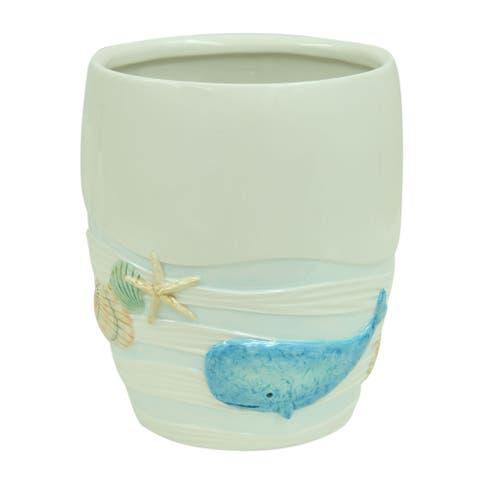 Sea Splash wastebasket by Bacova - Blue/White