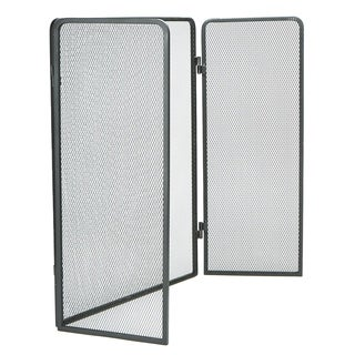Mind Reader 3 Panel Fire Place Screen Door Panel with Double Bar Black Finish, Black