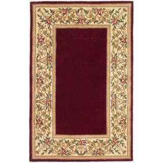 KAS Ruby Collection Floral Handmade Wool Border Rug - 5'3 x 8'
