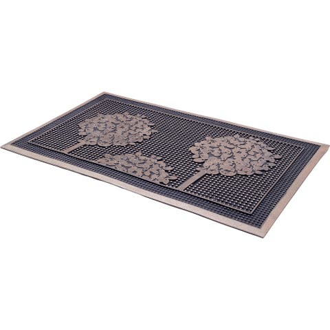 "Handmade Trees Gold Painted Rubber Durable Doormat (India) - 18"" x 30"""