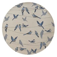 KAS Harbor Ivory Birds On A Wire Round Rug - 7'6