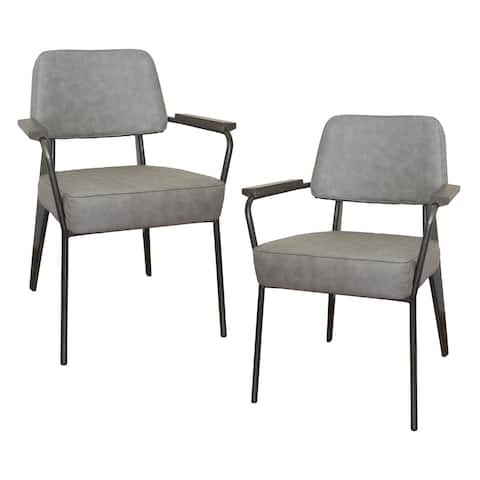 AmeriHome 2 Piece Fauteuil Direction Accent Chair Set - Gray