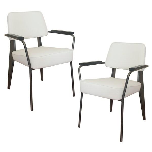 AmeriHome 2 Piece Fauteuil Direction Accent Chair Set - White