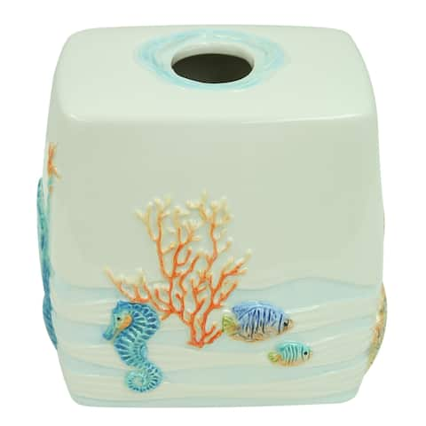 Sea Splash tissue cube by Bacova - Blue/White