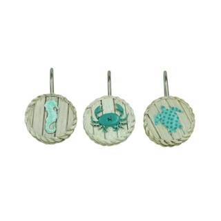 Coastal Patch shower curtain hooks by Bacova