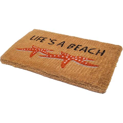 "Handmade Lifes a Beach Starfish Extra Thick Durable Doormat (India) - 18"" x 30"""
