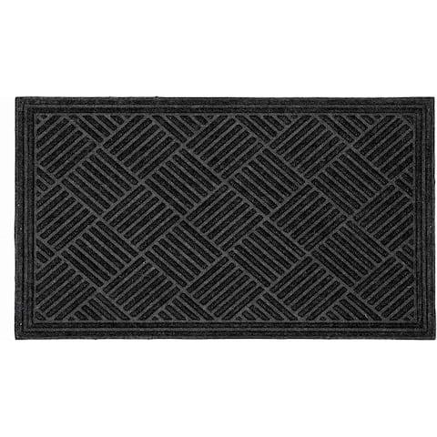 Handmade Textured Parquet Shoe Scraper Durable Doormat (India) - 2' x 3'