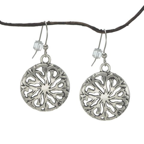 Handmade Jewelry by Dawn Round Antique Pewter Medallion Earrings (USA)