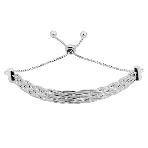 Fremada Italian Rhodium Plated Sterling Silver 6.4 millimeters Braided Herringbone Bolo Bracelet (adjusts up to 9 inches)