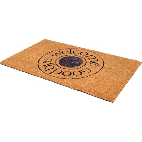 "Handmade Welcome and Goodbye Doormat - 18"" x 30"" (India)"
