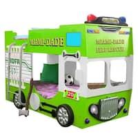 Green Kids' Fire Truck Bunk Bed