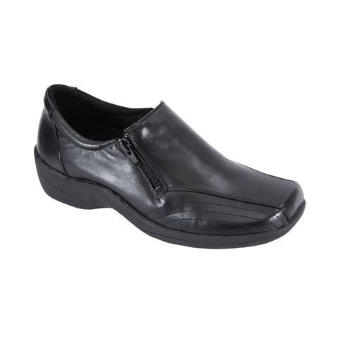 24 HOUR COMFORT Vera Women Wide Width Slip on Shoes with Side Zipper