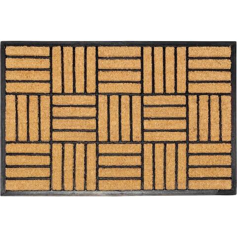 "Handmade Natural Brushed Coir Parquet Rubber Durable Doormat (India) - 18"" x 30"""