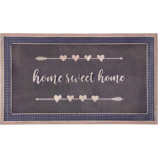 """Handmade Home Sweet Home Gold Rubber Durable Doormat - 18"""" x 30"""" (India)"""