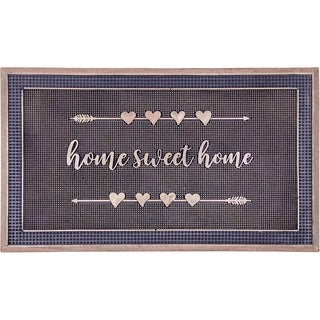 "Handmade Home Sweet Home Gold Rubber Durable Doormat - 18"" x 30"" (India)"