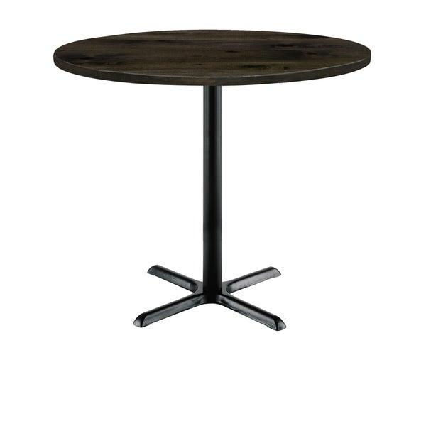 KFI Round Top Multipurpose Table, Black X Base, Bistro Height