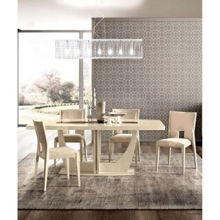 Luca Home Alana Ivory Extendable Dining Table
