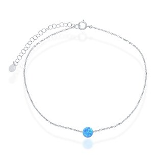 La Preciosa Sterling Silver Created Blue Opal Round or Heart 9+2'' Anklet (2 options available)