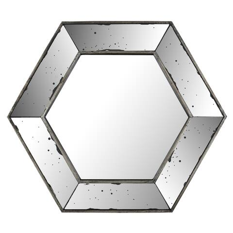 20.47x17.72 Hexagon Mirror, Mirrored frame, Ready to hang - Silver