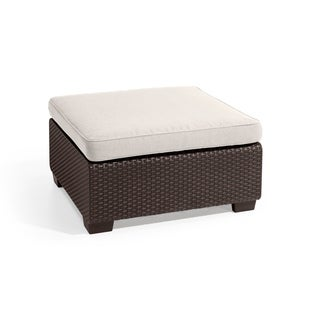 Keter Sapporo All-Weather Outdoor Patio Ottoman with Sunbrella Cushion