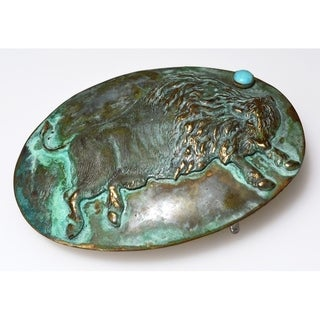Handmade Verdigris Patina Solid Brass Buffalo Buckle (USA)