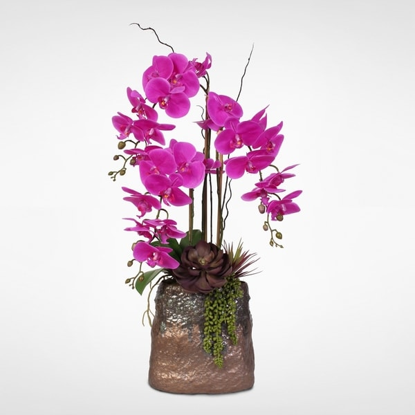 Real Touch Beauty Purple Phalaenopsis Orchids in a Modern Ceramic Vase