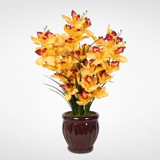 Soaring Silk Yellow w/Red Centers Cymbidium Orchids in a Fluted, Glazed Dark Red Ceramic Pot