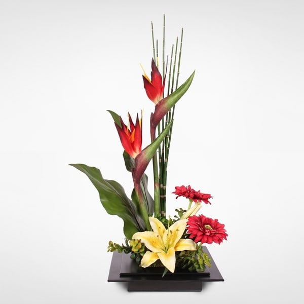 Silk Birds of Paradise and Lily in a Modern Zinc Metal Planter