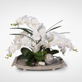 Real Touch White Phalaenopsis Orchids with Greenery Silk Flower Arrangement on Curved Champagne Silver Tray