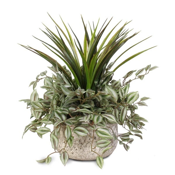 Greenery Variety Silk Plant in a Low Modern Planter