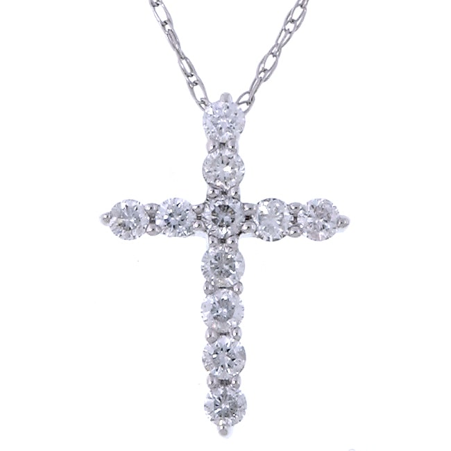 Eloquence 14k White Gold 1/4 ct Diamond Cross Necklace