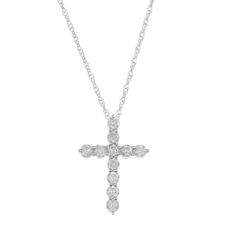 Eloquence 14k White Gold 1/2ct Diamond Cross Pendant (G-H, I2)