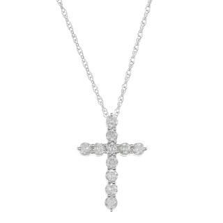 Eloquence 14k White Gold 1/2ct Diamond Cross Pendant