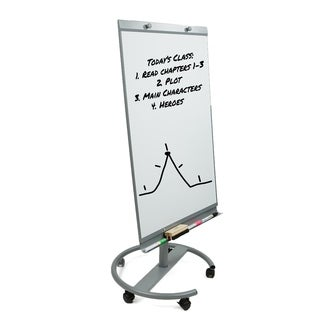 Mind Reader Portable Magnetic Dry Erase Easel 360 Degree Rotating White Board, White