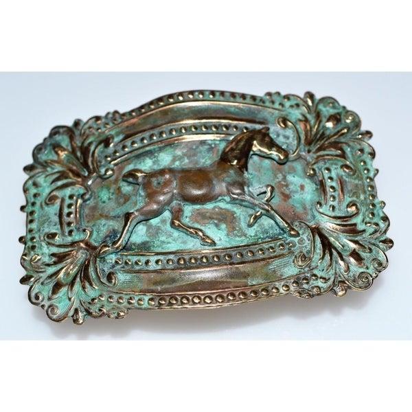 Handmade Patina Solid Brass Victorian Running Horse Buckle (USA)