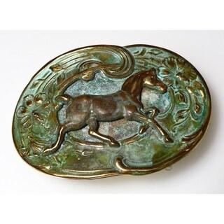 Handmade Patina Solid Brass Equestrian Buckle (USA)