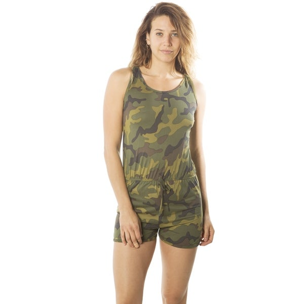 e84493c329c Shop Ladies Racer Back Camouflage Romper Overall Shorts - Free ...