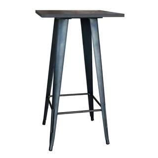 AmeriHome Loft Rustic Gunmetal Metal Pub Table w/ Wood Top
