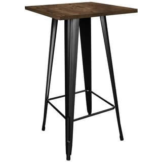 AmeriHome Loft Black Metal Pub Table w/ Wood Top