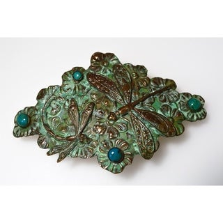 Handmade Patina Brass Dragonflies Floral Belt - Chrysocolla (USA)