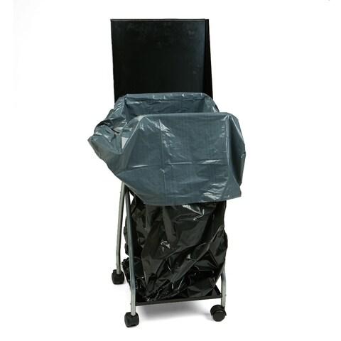 Mind Reader Single Trash Bag Holder with Closeable Lid, Silver