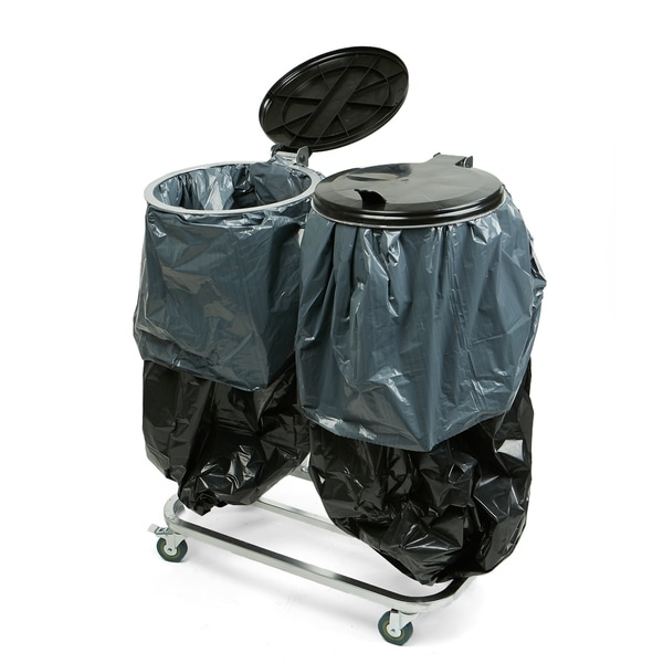 Mind Reader Dual Portable Trash Bag And Garbage Holder With Lids For Outdoor Indoor