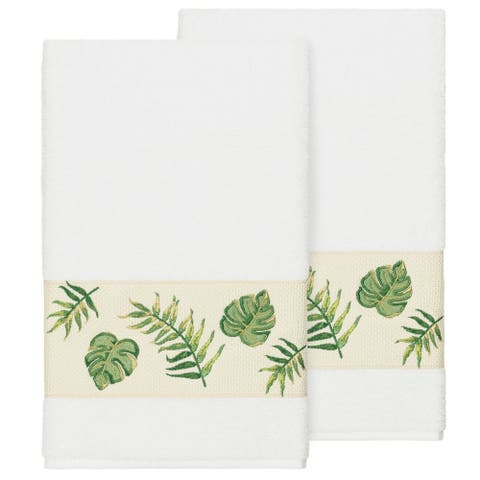 Authentic Hotel and Spa Turkish Cotton Palm Fronds Embroidered White 2-piece Bath Towel Set