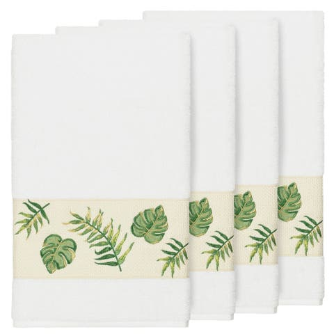 Authentic Hotel and Spa Turkish Cotton Palm Fronds Embroidered White 4-piece Bath Towel Set