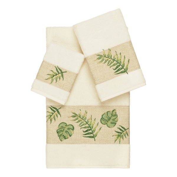 Authentic Hotel and Spa Turkish Cotton Palm Fronds Embroidered Cream 3-piece Towel Set