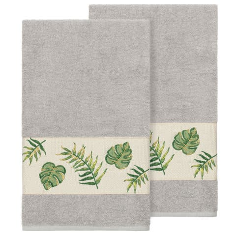 Authentic Hotel and Spa Turkish Cotton Palm Fronds Embroidered Light Grey 2-piece Bath Towel Set