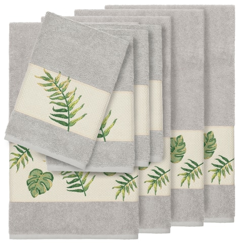 Authentic Hotel and Spa Turkish Cotton Palm Fronds Embroidered Light Grey 8-piece Towel Set