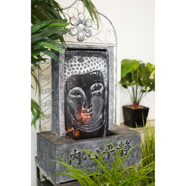 Obreeze Illuminated Face of Buddha Waterfall Tabletop Fountain, 35 Inches Tall