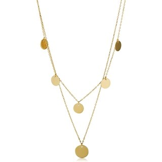 Fremada Italian 14k Yellow Gold Disc Station Layered Necklace (adjustable length from 16 to 17 inches)